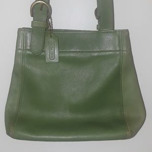 COACH  Green Leather Buckle Bag/Shoulder Tote